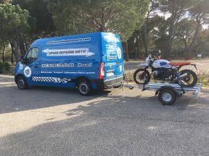 transport au Castellet d'une bmw r1200R sur remorque