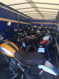 transport moto sur remorque